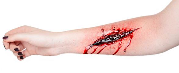 Fototapeta  cut wound blood on hand cut sutsyd vein professional makeup flows blood obraz