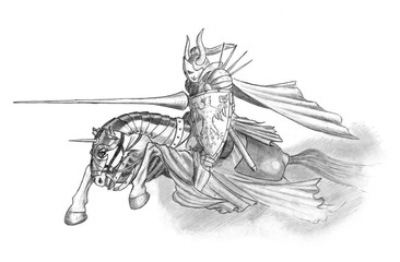 Black and white pencil drawing of medieval or fantasy knight riding or charging on horse with jousting lance and shield. Wall mural