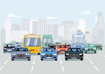 Straßenverkehr mitAutos aufStädtischerstraße