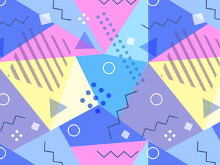 Vector memphis style banner background. Colorful abstract geometric pattern.