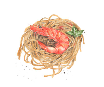Pasta spaghetti with shrimp. Watercolor food illustration on white background. Perfectly for menu card.