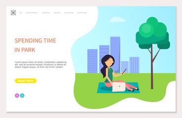 Spending Time in Park Poster Girl Sitting on Grass