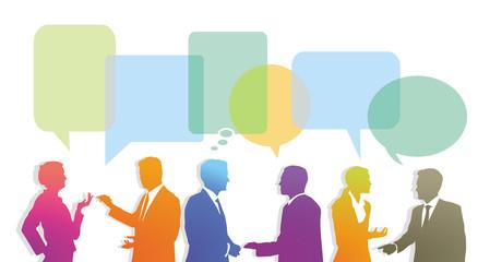 Frage und Antwort Sprechblasen mit Personengruppe, Illustration