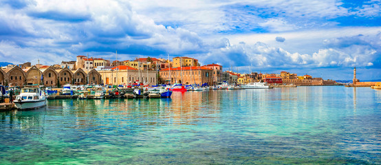Beautiful Greece series - panaorama of picturesque old town Chania. Crete island