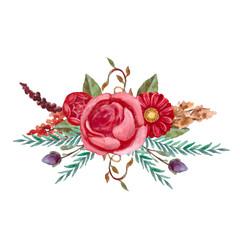 Watercolor floral bouquet.Vintage,retro flowers.Hand painted botanical illustration.