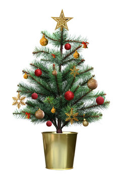 Decorated christmas tree with red and golden ball in the golden pot isolated on white background