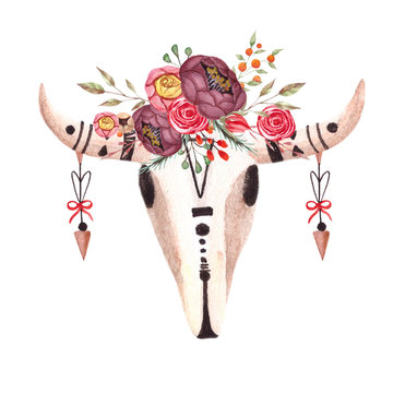 Watercolor boho skull of cow,buffalo,animal with flowers and arrows. Printable poster template for wallart.