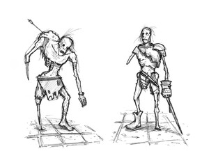 Black and white rough grunge ink sketch of two fantasy warrior or knight zombies.