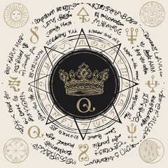Illustration of a crown inside an octagonal star with handwritten magic inscriptions and symbols. Vector banner with an old manuscript in retro style written in a circle.