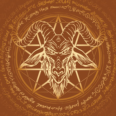 Vector banner with illustration of the head of a horned goat and pentagram inscribed in a circle. The symbol of Satanism Baphomet on the background of old manuscript written in a circle in retro style