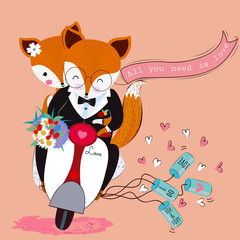 Cute valentine fox and foxy couple in love with flower bouquet on the scooter,all you need is love