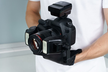photographer in Dental clinic, complete photo equipment for macro shooting