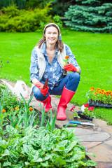 woman working in a flower garden