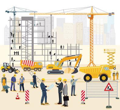 Transport und Arbeitskräfte auf der Baustelle. Illustration