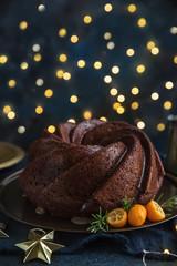 gingerbread bundt  cake on dark background