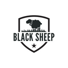 Vintage black sheep logo design inspiration