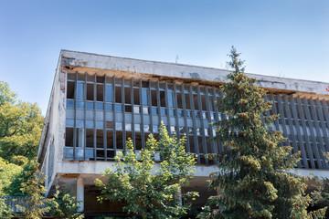 A ruined, abandoned building of an old sanatorium - a spa, Szczawnica Zdroj, Poland