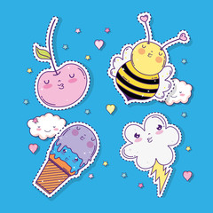 set kawaii apples with bee and ice cream with cloud