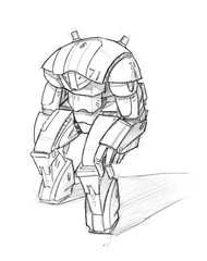 Black and white rough pencil sketch of robot character.