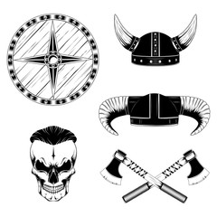 Set of vector images. Skull of a viking, helmets, shield, axes.