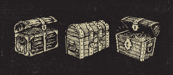 Illustrated treasure chests