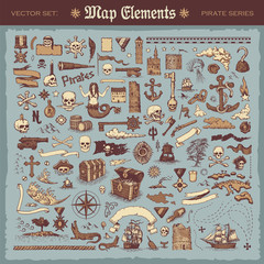 Vintage map elements and items