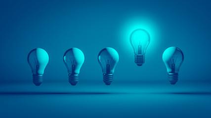 Intelligente Glühbirne mit Idee Fotoväggar