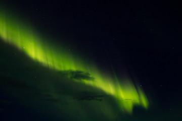 Northern lights detail view from Iceland. Green aurora
