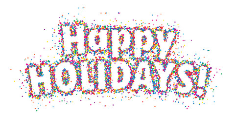 HAPPY HOLIDAYS colorful confetti typography banner