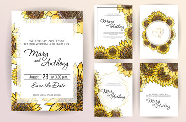 Set of wedding invitation card flowers Sunflower. A5 wedding invitation design template on white background. vector Hand drawn colorful marker illustration.Doodle sketch line on white background frame
