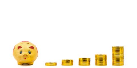 Piggy bank with increasing gold coin stacks - concept of increase