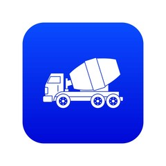 Truck concrete mixer icon digital blue for any design isolated on white vector illustration