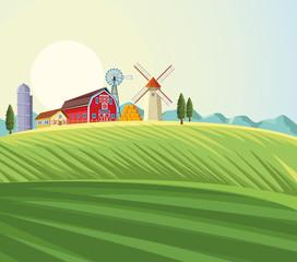 Fotobehang Olijf Farm landscape scenery