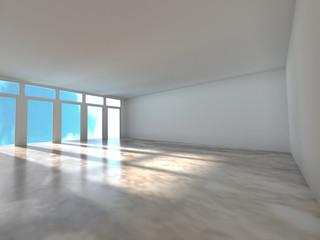 Empty room with window shadow, 3D rendering