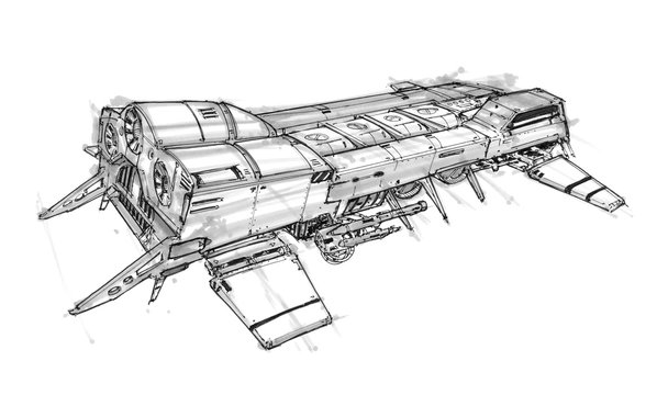 Black and white ink concept art drawing of futuristic or sci-fi spaceship or spacecraft.