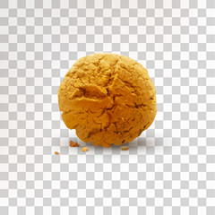 Round brown cookie with crumbs isolated on transparent background. Realistic vector illustration
