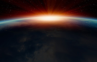 Wall Mural - Planet Earth with a spectacular sunset with aurora