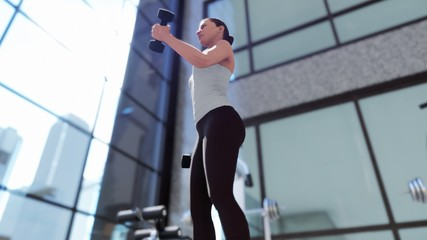 Gym with a variety of exercise equipment and a sportswoman doing sports. 3D Rendering