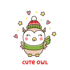 Cute winter owl in a hat and scarf on a white background. It can be used for sticker, patch, phone case, poster, t-shirt, mug and other design.