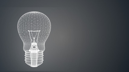 creativity ideas concept with polygon light bulb with free copy space for your text
