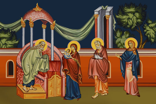 The Presentation of Jesus at the Temple.  Illustration - fresco in Byzantine style.