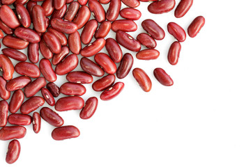 Image of red bean on white background. Food.