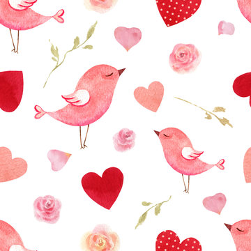Happy Valentine's day watercolor vector seamless pattern.