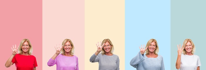 Collage of middle age senior beautiful woman over colorful stripes isolated background showing and pointing up with fingers number four while smiling confident and happy.