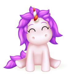 Cute unicorn 3d toy cartoon character design vector illustration