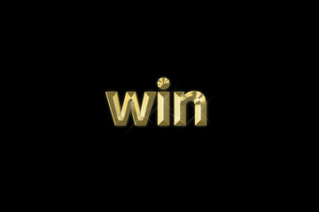 """3d gold inscription word """"win"""" isolated on black background"""