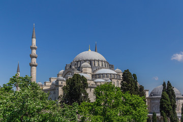 Suleymaniye Mosque, an Ottoman imperial mosque located in Fatih, Istanbul, Turkey.