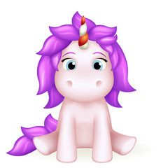 Unicorn 3d cute toy cartoon character design vector illustration