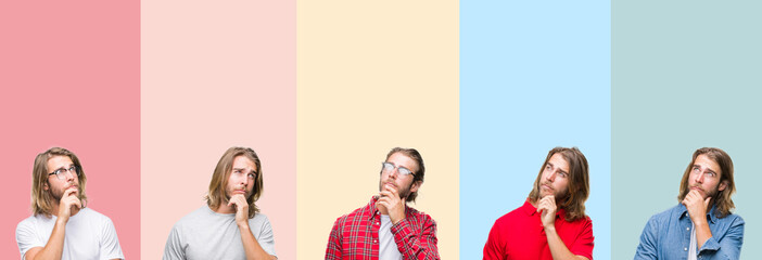 Collage of young handsome man over colorful stripes isolated background with hand on chin thinking about question, pensive expression. Smiling with thoughtful face. Doubt concept.