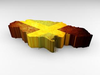 Jamaica map 3d textured with a Jamaican flag
